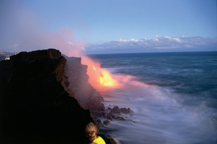 Lava from Kilauea Volcano meets the sea on Hawaii's Big Island