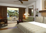 An ocean view guestroom at the Mauna Lani Resort at Kalahuipua'a