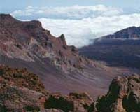 The steep slopes of Haleakala, a 10,000-foot dormant volcano on Maui