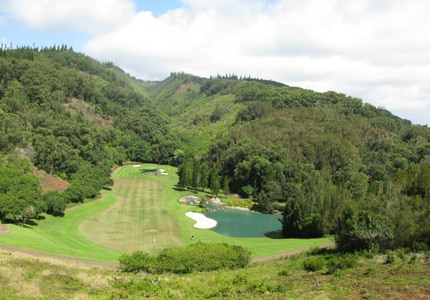 Signature Hole 17, a 250-foot drop from the tee, at The Experience at Koele, one of GAYOT's Top Golf Courses in Hawaii
