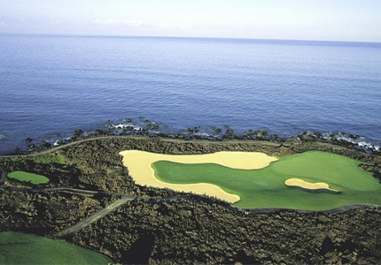 Scenic Hole 17 at the Hualalai Course, one of GAYOT's Top 10 Golf Courses in Hawaii