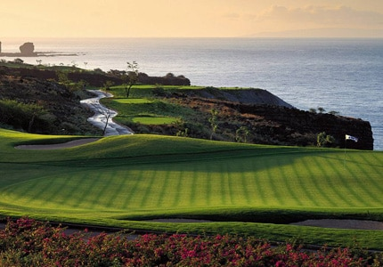 The Manele Golf Course in Lanai City, Hawaii features three holes on cliffs