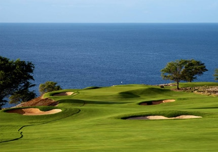 The 11th hole at The Challenge at Manele, one of GAYOT's Top 10 Golf Courses in Hawaii