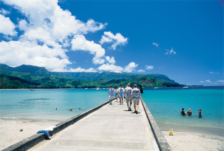 Historic Hanalei Pier in Hanalei Beach Park, one of GAYOT's Top 10 Beaches in Hawaii