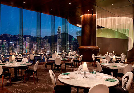 Enjoy incredible views at Starck-designed Felix, the rooftop restaurant on the 28th floor of The Peninsula Tower