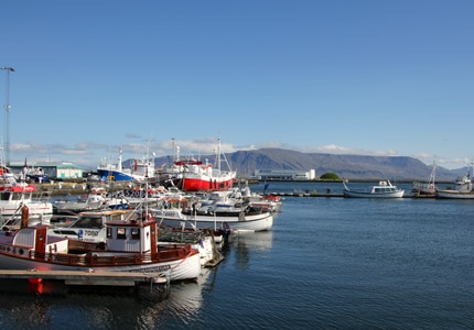 Boats in port at the Old Harbor in Reykjavik