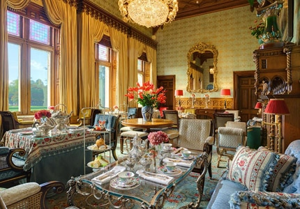 Have a cup of tea in the Connaught Room at the Ashford Castle