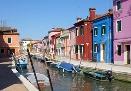Colorful Houses of Burano in the Venetian Lagoon, Italy