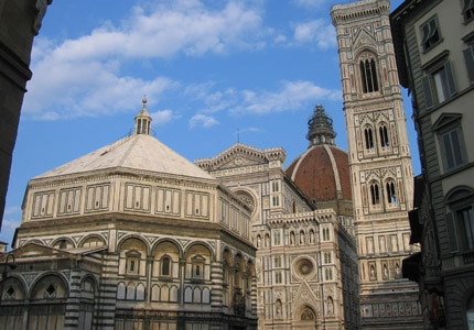 A view of the Baptistry and the Cathedral of Santa Maria del Fiore