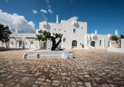 Exterior of Massria Le Carrube in Puglia, Italy