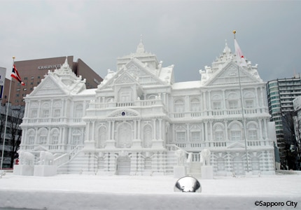 One of the snow sculptures at the Odori site during the Sapporo Snow Festival in Japan