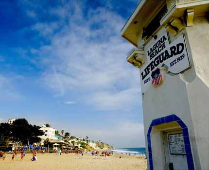 The iconic lifeguard tower at Main Beach in Laguna