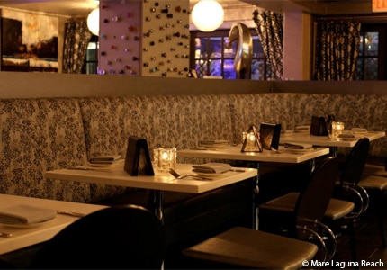 The dining area of Mare Culinary Lounge in Laguna Beach, California