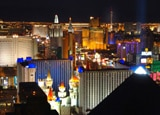 The brights of the Las Vegas Strip as viewed from above