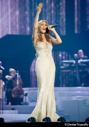 Celine Dion performing at The Colosseum at Caesars Palace in Las Vegas, Nevada