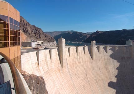 Hoover Dam is a popular tourist destination southeast of Las Vegas