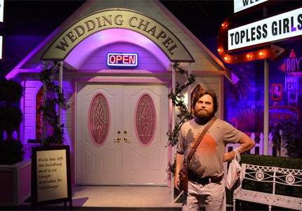 "Tie the knot at the Madame Tussauds Las Vegas wedding chapel inspired by the film, ""The Hangover"""