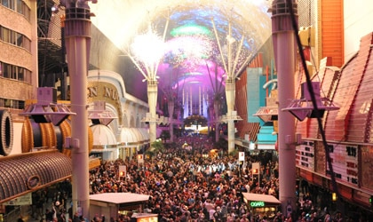 The Fremont Street Experience on New Year's Eve in Las Vegas, Nevada (courtesy of LVCVA)