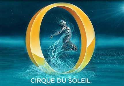"The water theme, which is the leitmotif of the Bellagio, is glorified in the ""O"" show by the versatile artists"