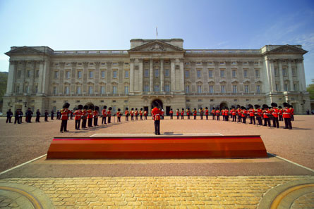 The changing of the guards at Buckingham Palace in London
