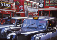 London's iconic black cabs and red buses