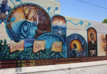 A mural on the Eso Won Bookstore in Leimert Park, one of Los Angeles' great ethnic neighborhoods
