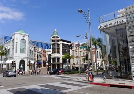 In-between meetings, shop the luxury retailers on Rodeo Drive in Beverly Hills, California