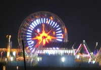 The Ferris wheel in Santa Monica towers 130 feet and is illuminated with eye-popping LED lighting at night
