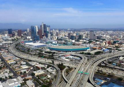 A bird's-eye view of the sprawling metropolis of Los Angeles, California