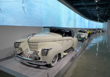 The Petersen Automotive Museum in Los Angeles, California, explores the history of the automobile