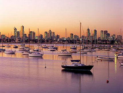 Melbourne panorama at sunset