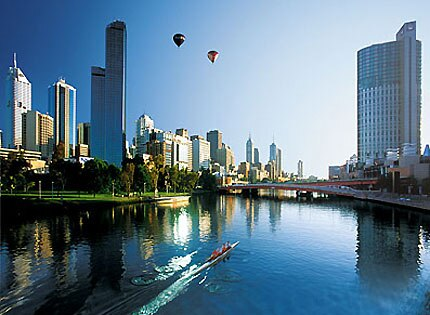 A magnificent view of skyscrapers make up the Melbourne skyline