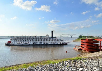 The American Queen Steamboat arriving at Beale Street Landing in Memphis, Tennessee