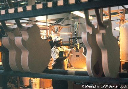 Watch guitars being made at the Gibson in Memphis, Tennessee