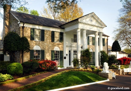 Elvis Presley bought this colonial revival-style mansion known as Graceland in Memphis, Tennessee, for his parents when he became a success