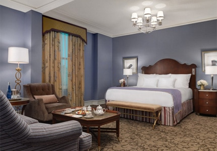 A guest room at The Peabody Memphis in Tennessee