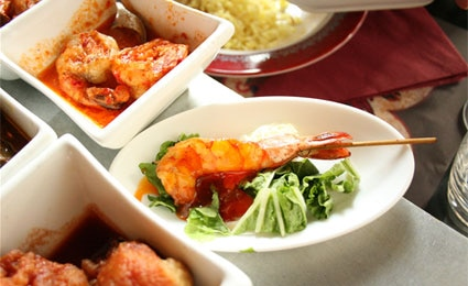 Thai shrimp and other assorted dishes