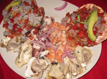 Fresh oysters along with rich ceviche