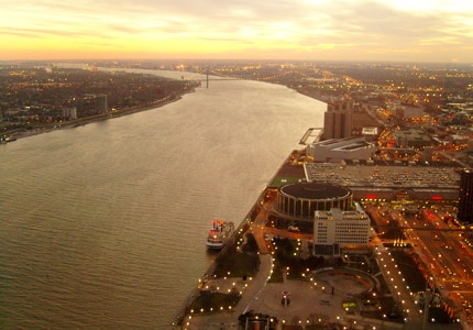 An aerial view of downtown Detroit and the Detroit River in Michigan