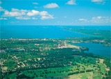 An aerial shot of Traverse Bay, Michigan