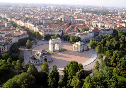 An aerial view of Arco della Pace in Milan, Italy