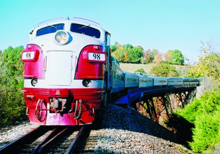 The Branson Scenic Railway takes passengers on a tour of the surrounding sites