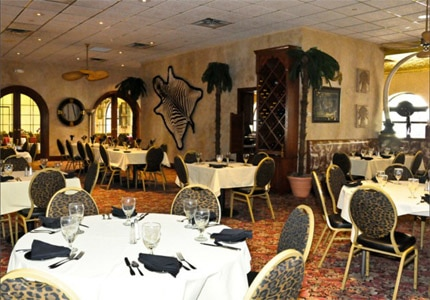 The dining room at Buckingham's Prime Rib & Steakhouse at the Clarion Hotel