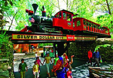The Frisco Silver Dollar Steam Train at Silver Dollar City in Branson, Missouri