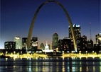 St. Louis and its famous Gateway Arch at night