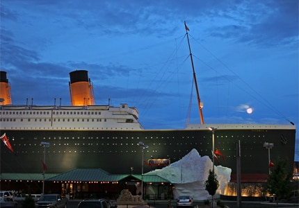 The Titanic Museum in Branson, Missouri is a 100-foot tall, half-scale replica of the famous ship
