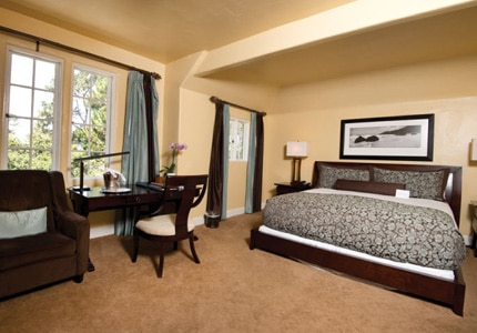 The Superior Peek Ocean View King guest room at L'Auberge Carmel hotel in Monterey, California