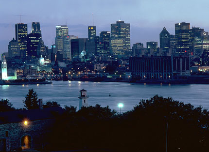Downtown and St. Lawrence River viewed from parc Jean-Drapeau in Montreal