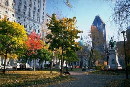 The picturesque Square Dorchester in Montreal
