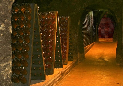 The cave and wine racks of Schramsberg Vineyards in Napa, California